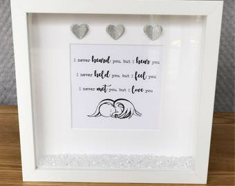Baby Loss, Quote Frame, Rainbow Baby, Miscarriage, Still Birth, Sympathy Gift, Angel, Rememberance