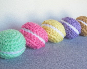 Set of 5 Amigurumi Crochet Macaroons / Crochet Plush Macaroons / Assorted Stuffed Macaroons