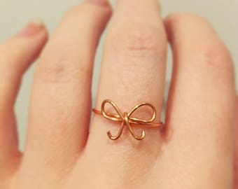 Copper Bow Ring - Copper ring - Bow ring - Boho ring - Bronze ring - Friendship ring