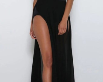 Long deep split dress with bustier and brief