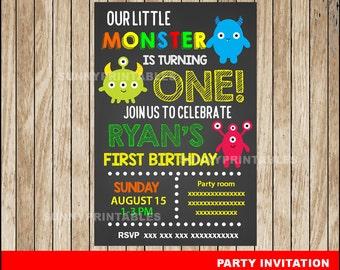 Little Monster Chalkboard invitation; Chalkboard Little Monster Birthday invitation, Monster party Invitation Digital File