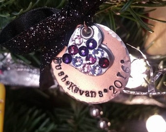 Hand Stamped Personalized Ornament with Swarovski Accents