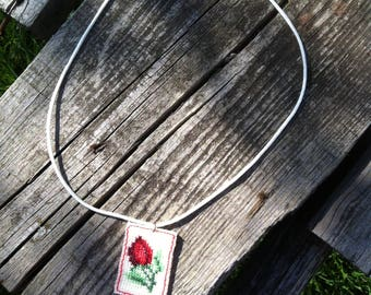 Embroidery jewelry Floral embroidery jewelry Rose Necklase embroidery Necklase