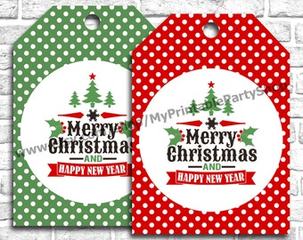 PRINTABLE Holiday Gift Tags, Christmas Gift Tags, Merry Christmas And Happy New Year Gift Tags, Red Green Polka Dot, INSTANT DOWNLOAD
