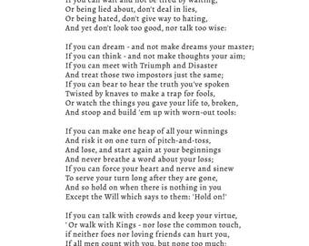 If by Rudyard Kipling A3 Poster