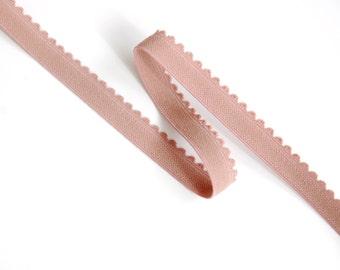 1m Rose Pink Elastic Trim (10mm) with Picot Edge for Bramaking, Lingerie elastic