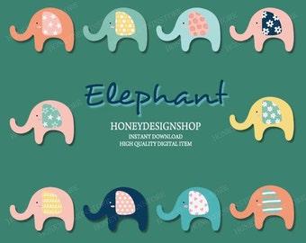 Elephant Clip art, cute elephant vector, nursery clip art, nursery vector, elephant printable, pastel clip art, commercial personal use