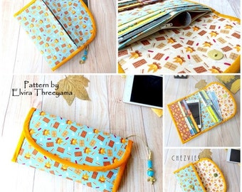 Womens Wallet Pdf Pattern, Card Organizer, Trifold Wallet , credit card wallet, instant download, minimalist purse, DIY sewing