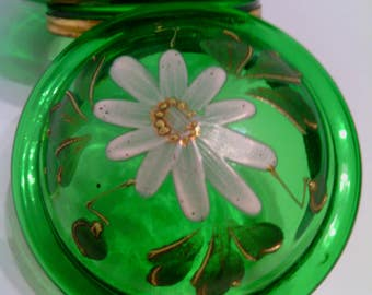 Antique Hand Painted Daisy Flower -  Bohemian Emerald Green Glass Hinged Vanity or Dresser Box
