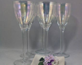 Wine Glasses Iridescent Optic Champagne Glasses Set of 5