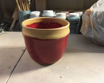 Red and Rutile Glazed Hand Thrown Bowl