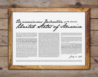 Declaration of Independence- Print 18x24""