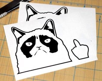 Grumpy Cat Middle Finger Sticker