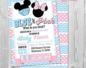 Mickey Gender Reveal Invitation, Minnie or Mickey Gender Reveal Invitation Printable, Baby Reveal Party Invitations, Blue or Pink