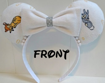 Disney inspired Bambi and Thumper mouse ears headband with super soft white flannel bows