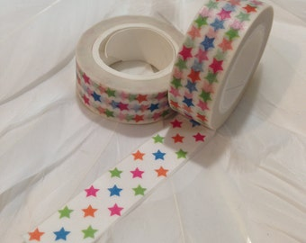 Bright colourful STAR Washi tape - 10 metre roll