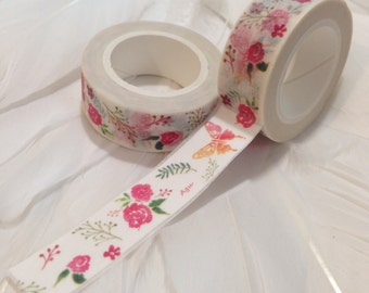ROSES and BUTTERFLIES Washi Tape - 10 metre roll