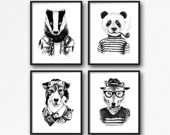 "Hand Drawn Animal Print Set 4 of 11x14"", Funny Animal Art, Printable Art, Instant Download, Digital Print, Modern Art Print, Nursery Decor"