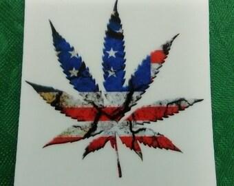 USA Weed Leaf Sticker