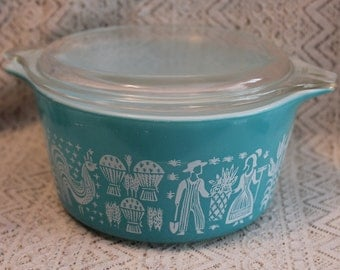 Pyrex Butterprint Casserole Dish with Lid, Pyrex 473 Butterprint Turquoise Casserole Dish, Pyrex 473, 1 Quart Baking Dish with Lid