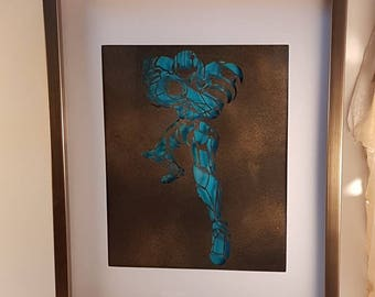 Samus handcut paper art dark blue