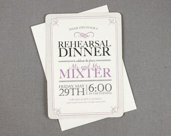 Art Deco Rehearsal Dinner Invitations Purple and Gray 5x7 Invitations - TE1