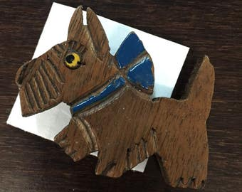 Vintage Wooden Scotty Dog Pin