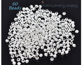 50 pcs - 2.4mm Silver Plated Spacer Beads - Silver Plated Beads - Jewelry Beads - Jewelry Findings - Beads - Jewelry Components - B0013