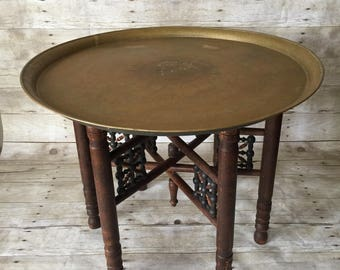 Vintage Moroccan Side Table with Etched Brass Tray Top