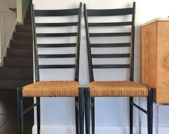 Pair Mid Century Italian Black Ladder Back Dining Chairs Gio Ponti Era
