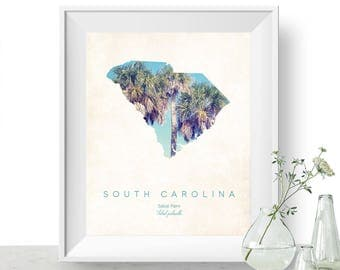 South Carolina | State Tree Map Art, State Map Print, Map Poster, Wall Art, Art Print  | Home or Office Decor, Gift for Nature Lover