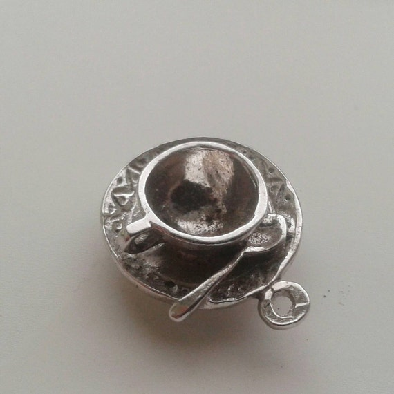 Coffee cup tea cup with saucer and spoon sterling silver charm for bracelet or necklace