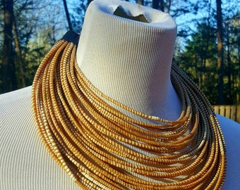 Recyled Flipflop Multistrand Necklace - Caramel