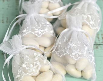 12 White Lace Sheer Favor Bags 3x4