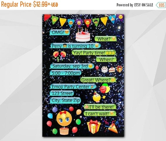 Printable Glitter Emoji Party Invitation