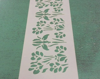 Cake side stencil- iris and crocus