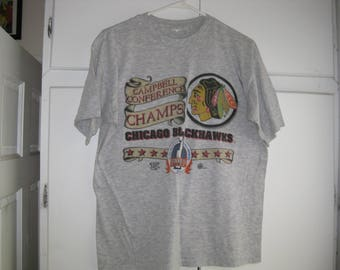 Chicago blackhawks etsy for Vintage blackhawks t shirt