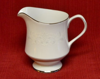 Sango China, Florence, CREAMER, Made in Japan, 3646, vintage dinnerware serving, white scroll, silver trim, pitcher