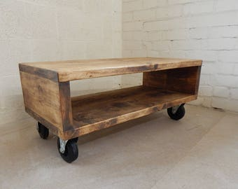Handmade Rustic Coffee Table Industrial Urban with Wheels