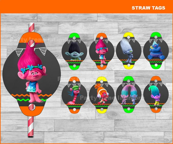 Dreamworks Trolls Printable Straw Flags