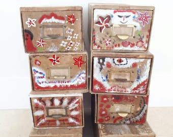 Vintage Filing Index Card Boxes Storage Decorated