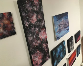 Panoramic Rose Galaxy long acrylic painting deep edged