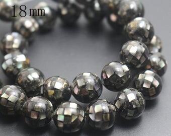 18mm Natural Black Abalone Mosaic Round Beads