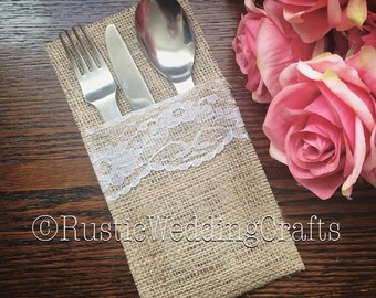 Hessian & Lace Cutlery Pockets; Hessian Cutlery Holder, Rustic Wedding, Vintage Wedding, Lace, Burlap