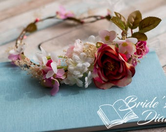 Flower hair wreath  with white-pink flowers
