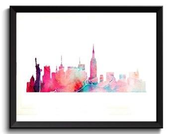 New York Skyline Art, New York Art Print, New York Artwork, NY Art Print, Aqua/Red New York Art, NY Watercolor Art, Rainbow City Art,