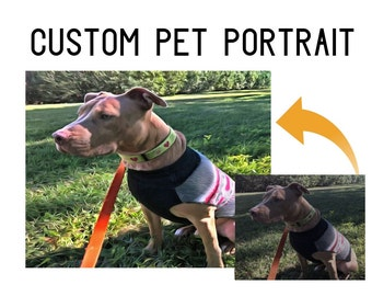 Custom Dog Gift, Pet lover art, Pet artwork, pet painting, dog present, art for dogs, Pitbull artwork, Pitbull Acrylic art, digital art