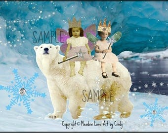 Polar Bear, Collage Altered Art Ephemera Altered Art, Instant Download, Digital Original Sheet