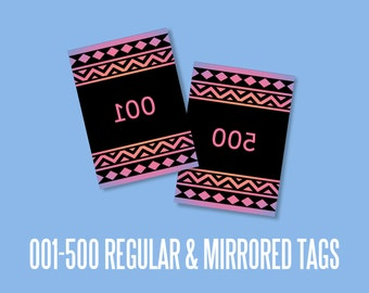 live sales numbered Tags 2.5 x3.5 inches, mirrored cards, instant Download, numbers, Office Approved Aztec, Marketing