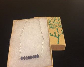 Iolite and sterling silver bar bracelet/gemstone bar bracelet/bar bracelet/delicate bracelet